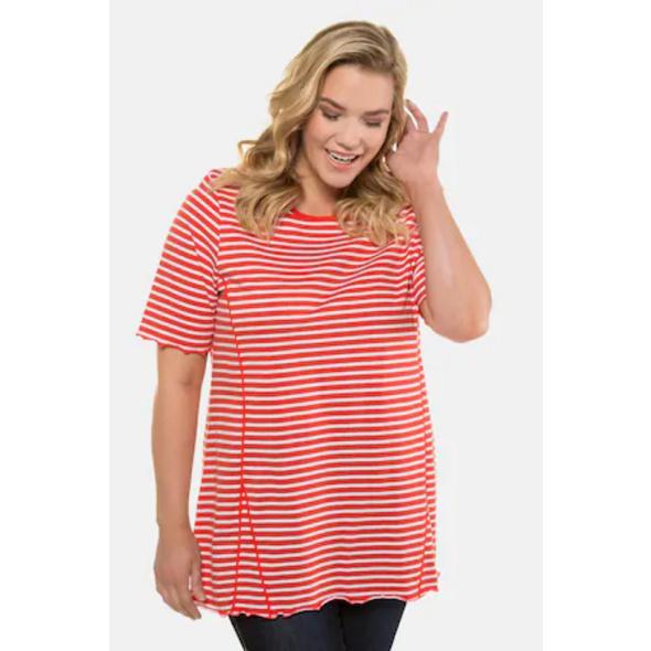 Ulla Popken T-Shirts, 2er-Pack, uni/geringelt - Große Größen