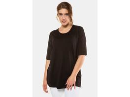 Ulla Popken T-Shirt, Seitenschlitze, Relaxed, Elasthan, selection - Große Größen